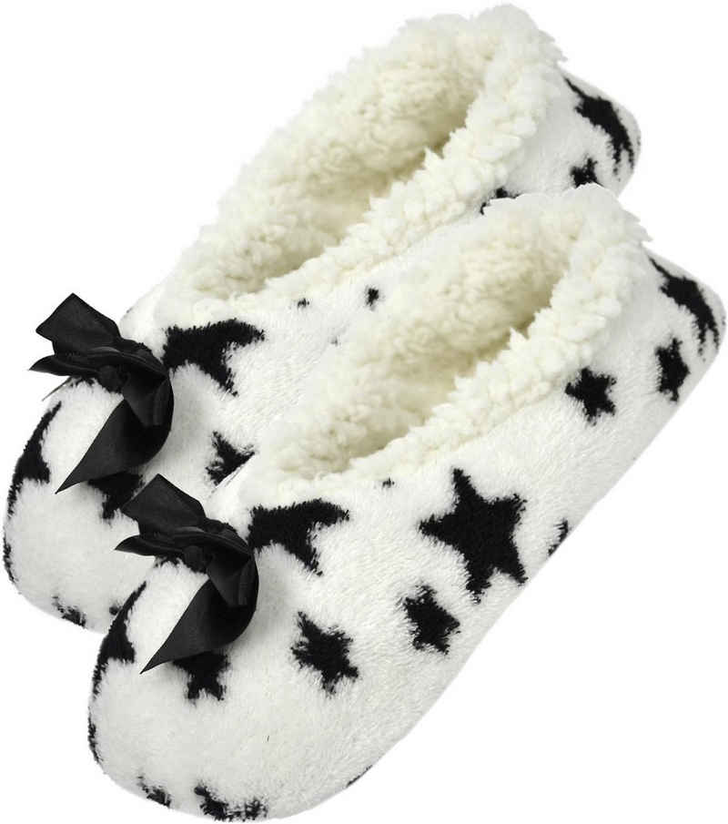 normani »Damen-Slipper Hausschuhe mit Schleife« Plüsch Hausschuhe (1 Paar) weiches Lammfellimitat