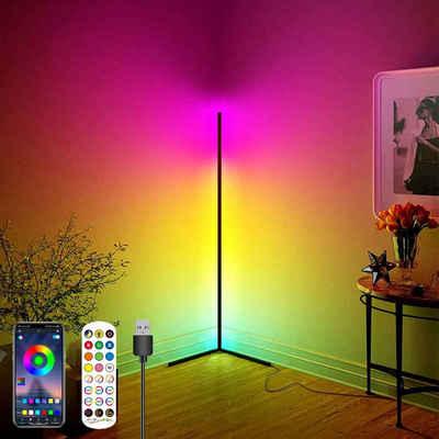 Rosnek LED Stehlampe »Corner Stehleuchte, RGB, Dimmbar, Music Sync, mit Bluetooth App Fernbedienung, Atmosphärische Beleuchtung für Schlafzimmer Party«