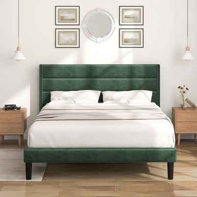 PHOEBE CAT Polsterbett, Bettgestell 140 x 200 cm Doppelbett Ehebett mit Lattenrost & Kopfteil, Textilbezug Samt in Dunkelgrün