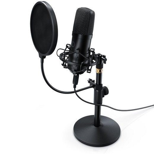 LIAM&DAAN Mikrofon, Profi Podcast Set - USB Studiomikrofon Großmembran Kondensatormikrofon