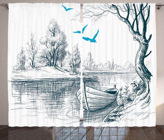 Gardine »Schlafzimmer Kräuselband Vorhang mit Schlaufen und Haken«, Abakuhaus, Skizzenhaft Boot auf dem Fluss Zeichnung