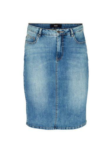 Zizzi Jeansrock Große Größen Damen Enganliegender Rock mit Taschen aus Baumwollmischung