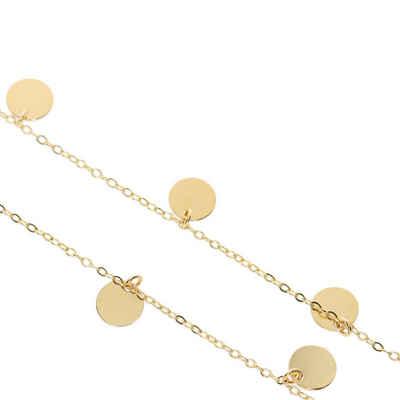 Stella-Jewellery Goldkette »Damen Halskette mit 7 Plättchen 585 Gold Kreis Kette Collier Schmuck« (inkl. Etui), 585 Gelbgold 7 Plättchen