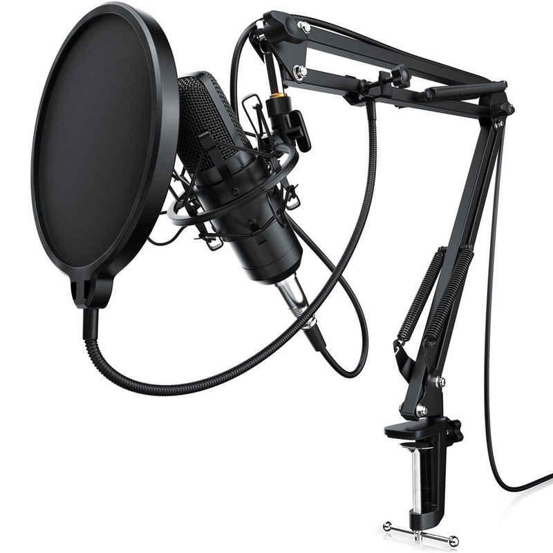 LIAM&DAAN Streaming-Mikrofon (Set), Kondensator Mikrofon mit Arm, Spinne & Popschutz Podcast Set / Kondensatormikrofon