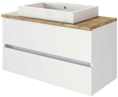 HELD MÖBEL Waschtisch »Livorno Waschtisch 100« (Set, 2-St), mit 2 Schubladen, Keramik