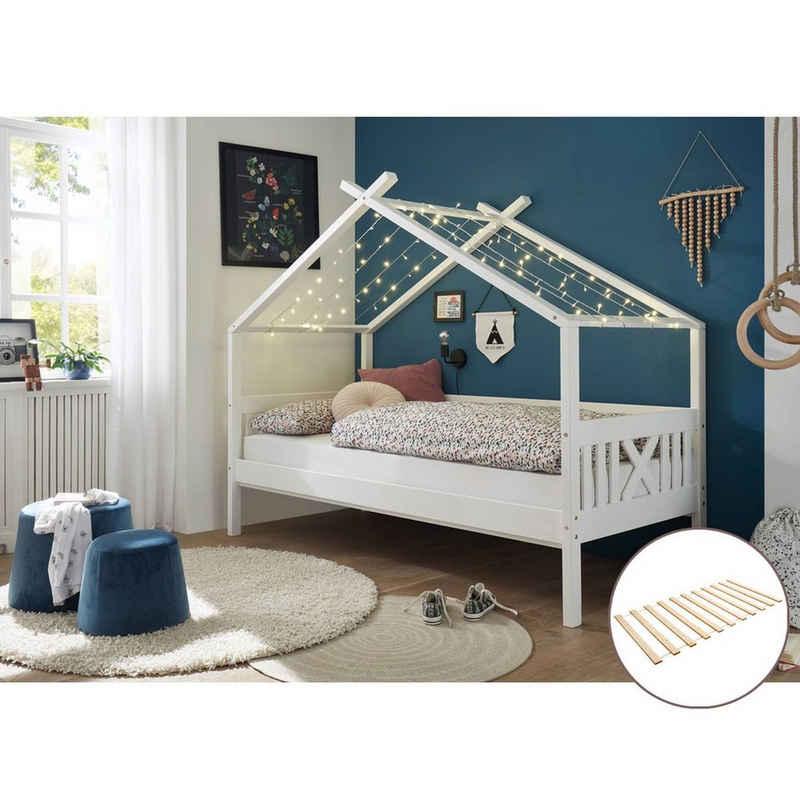 Lomadox Funktionsbett »LUANA-78«, Hausbett Kinderbett 90x200cm aus Kiefer massiv in weiß, B/H/T: ca. 209/170/98 cm, mit Rollrost