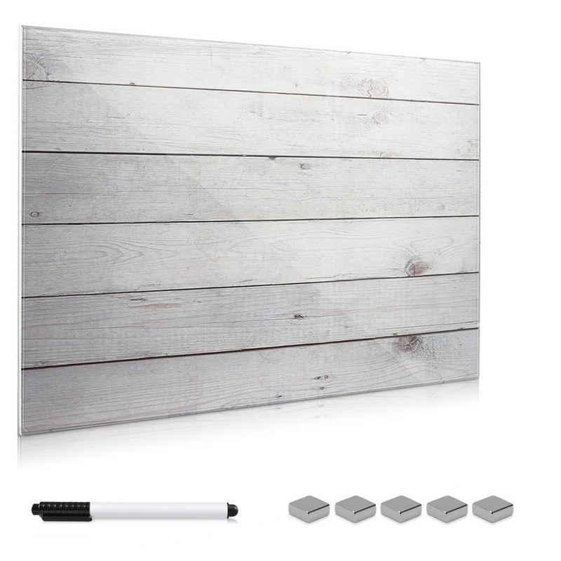 Navaris Memoboard, Memoboard aus Glas - Magnetwand 60x40 cm zum Beschriften - Magnetische Tafel inkl. Magnete Stift Halterung - Holzoptik Design