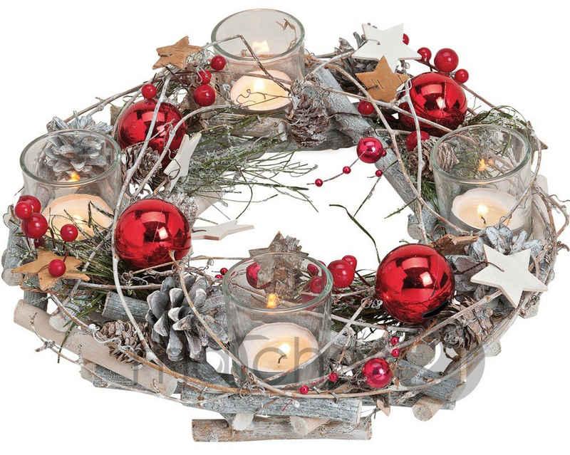 matches21 HOME & HOBBY Adventskranz »Holz Adventskranz mit Kerzengläsern & roter weihnachtlichen Deko«