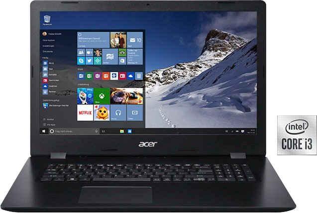 Acer A317-52-33SC Notebook (43,94 cm/17,3 Zoll, Intel Core i3 1005G1, UHD Graphics, 256 GB SSD, Kostenloses Upgrade auf Windows 11, sobald verfügbar)
