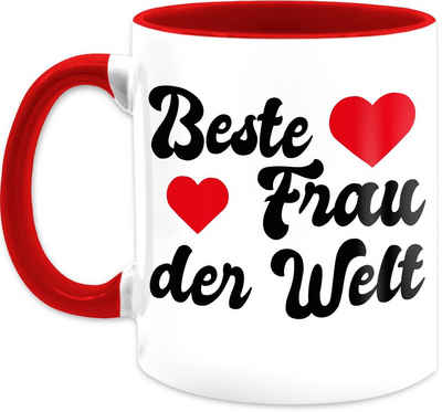 Shirtracer Tasse »Beste Frau der Welt mit Herzchen - Valentinstag Partner Tassen - Tasse zweifarbig«, Keramik