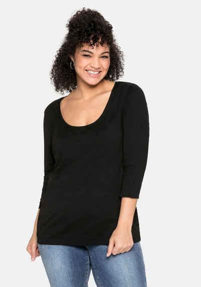 Sheego 3/4-Arm-Shirt aus reiner Baumwolle