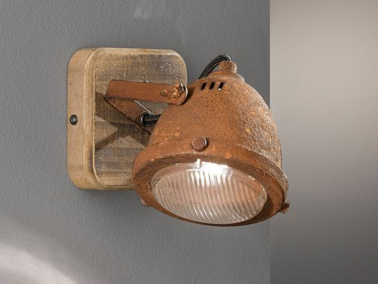 FISCHER & HONSEL LED Wandstrahler, Industrial Style Wand-lampe mit Holz-Brett Spot Metall Rost-Optik 1-flammig rustikale Holz-lampen