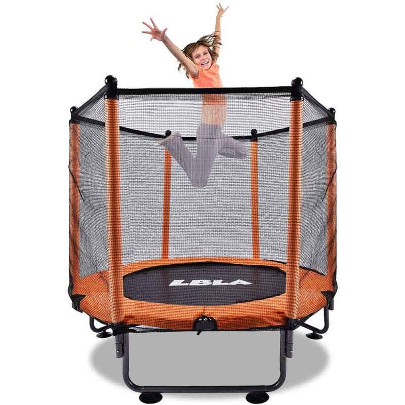 LBLA Kindertrampolin »Trampolin Fitnesstrampolin«, Ø 120,00 cm, (mit Sicherheitsnetz und Antikollisionsschaum), Gartentrampolin Anti-Roll-Over-Schutz