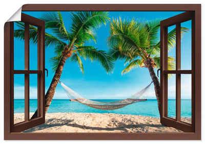 Artland Wandbild »Fensterblick Palmenstrand Karibik«, Amerika (1 Stück), in vielen Größen & Produktarten - Alubild / Outdoorbild für den Außenbereich, Leinwandbild, Poster, Wandaufkleber / Wandtattoo auch für Badezimmer geeignet