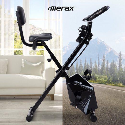 Masbekte Heimtrainer, Faltbares Fahrrad mit LCD-Bildschirm, einstellbarer Höhe und Armwiderstandsbändern, 8 Widerstandsstufen