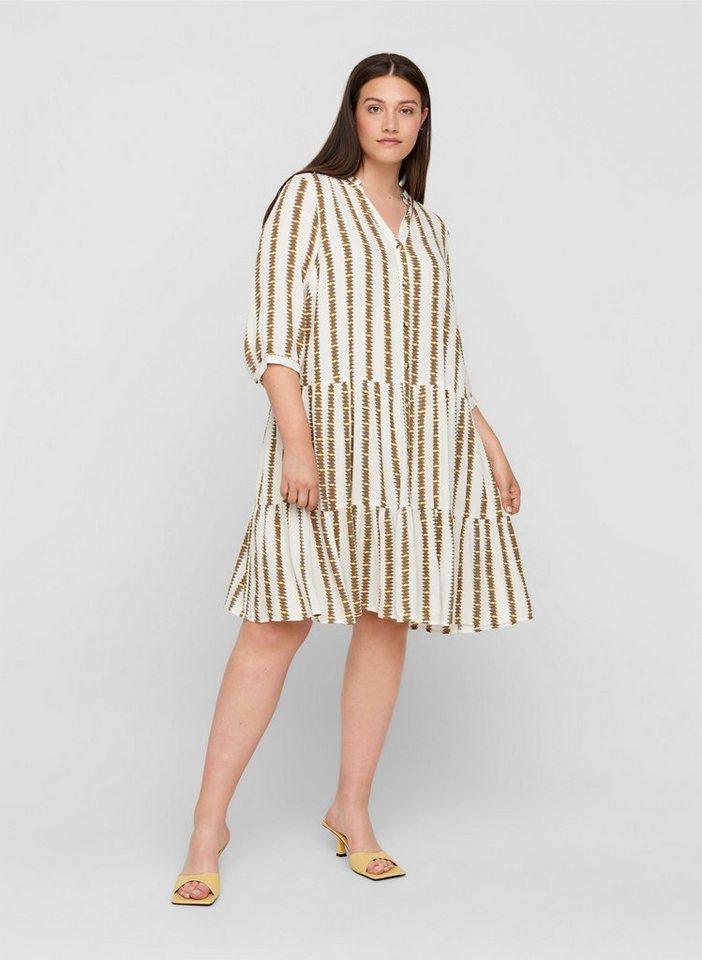 zizzi -  Sommerkleid Große Größen Damen Kleid aus Viskose mit Streifen und 3/4-Ärmel