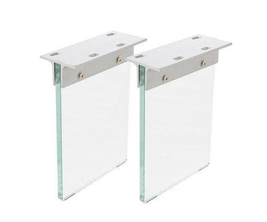 DELIFE Tischbein »Live-Edge«, Bankgestell Glas 28x2 cm Bankbeine Gestell Glasbeine
