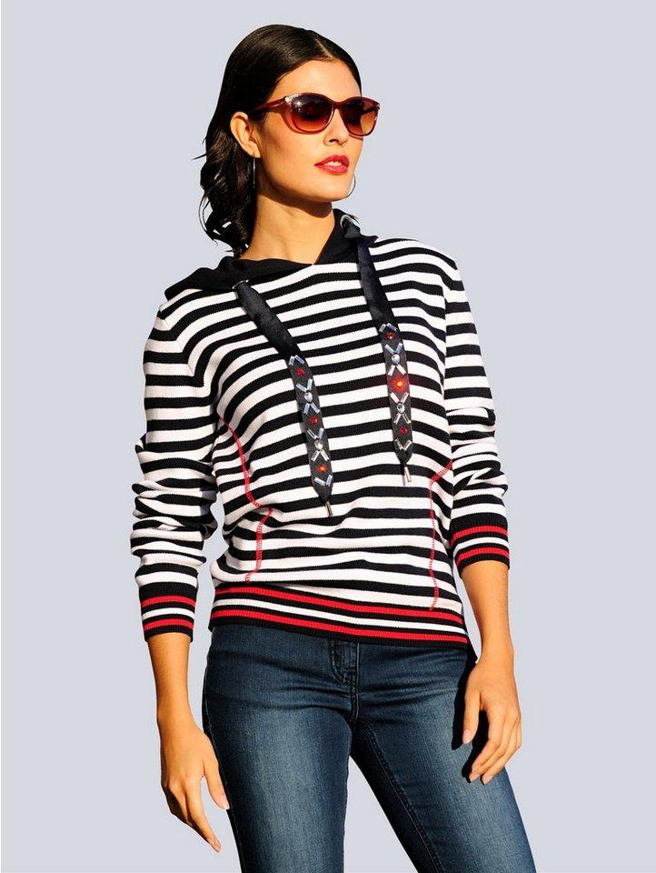 alba moda -  Strickpullover in Streifenoptik mit Kapuze