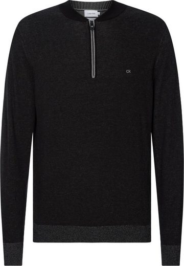 Calvin Klein Troyer »COTTON SILK BASEBALL ZIP SWEATER« leichter Feinstrick, mit Seide-Anteil