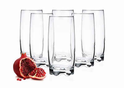 PLATINUX Glas »Trinkgläser«, Glas, Set 6 Teilig 350ml geformter Boden Wassergläser Saftgläser Frühstücksglas Longdrinkgläser