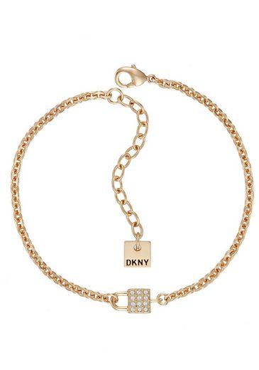 DKNY Armband »Small Pave Lock BR (GL), 5520113«, mit Swarovski® Kristallen