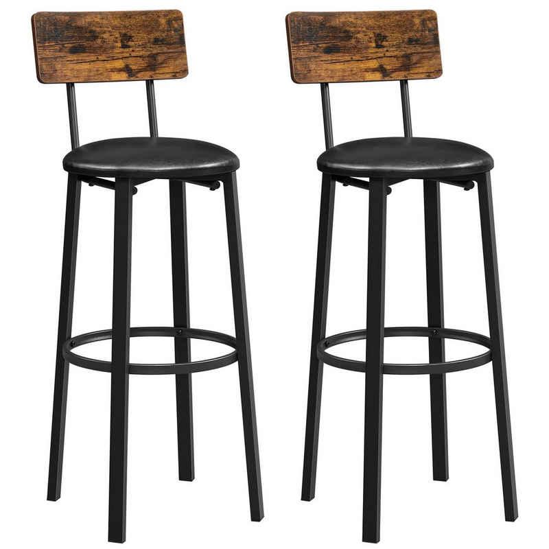 VASAGLE Barhocker »LBC069B81« (2 St., 2er-Set), Barstühle mit Fußstütze und PU-Bezug vintagebraun-schwarz