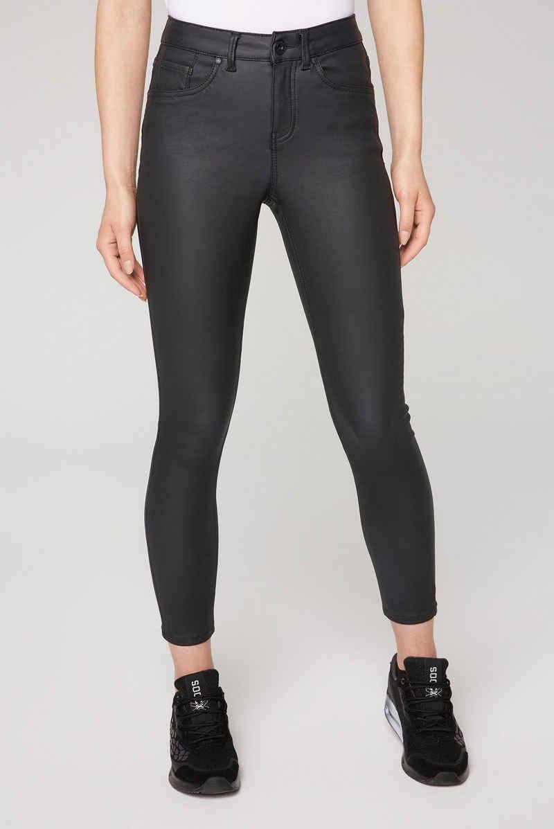 SOCCX Slim-fit-Jeans in coolem Leder-Look