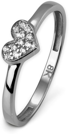 GoldDream Goldring »GDR503JX GoldDream Ring Herz Gr.54-60 Gold 8K« (Ringe), Damenring (Herz) 333 Weißgold - 8 Karat, Farbe: silber, weiß