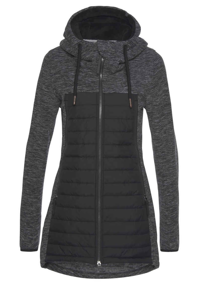Alife & Kickin Outdoorjacke »CharliAK« warme Longjacke im Fleece-Downlook-Style, Materialmix