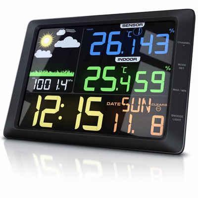 BEARWARE Wetterstation (mit Außensensor, Wetterstation mit großem LCD Farbdisplay Wettervorhersage / Luftdruck / Temperatur uvm)