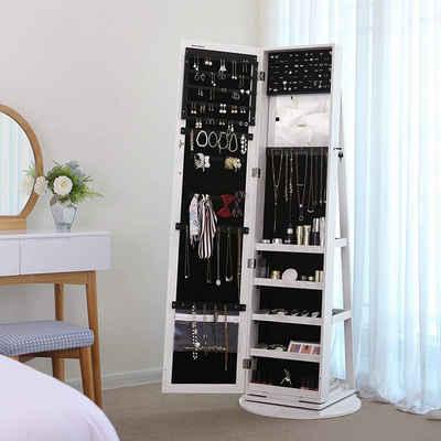 SONGMICS Schmuckschrank »JBC62W« Spiegelschrank, mit 160 cm hohem Spiegel, weiß