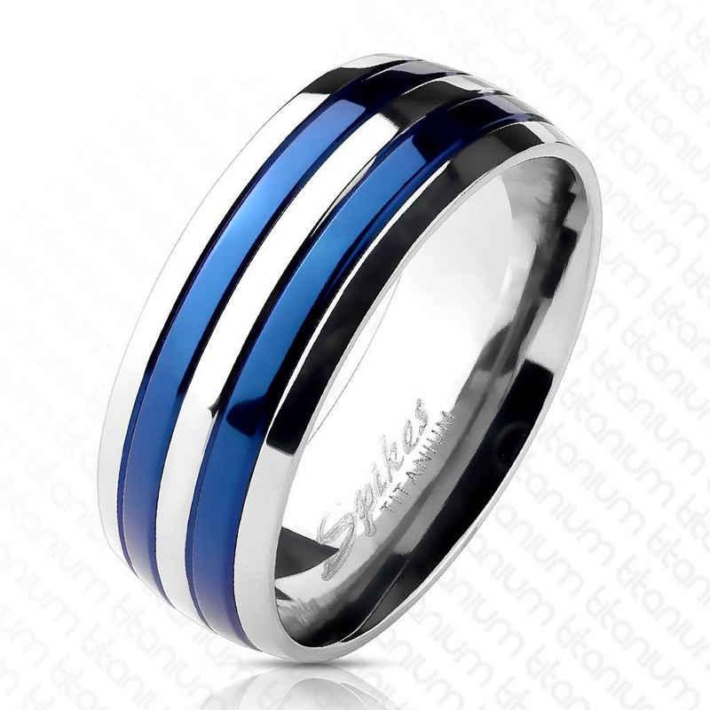 BUNGSA Fingerring »Ring Blau gestreift aus Titan Unisex« (inkl. Schmuckbeutel aus Organza), Damen Herren Verlobung Ehering Valentinstag