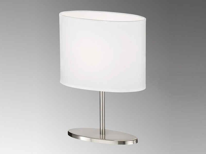 FHL easy! LED Nachttischlampe, kleine Stoff-Lampe mit Lampenschirm Weiß oval – Designklassiker für die Fensterbank