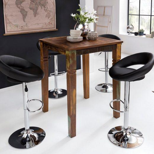 Wohnling Bartisch »WL5.076«, Stehtisch Kalkutta 80 x 80 x 110 cm Massivholz für 4 Personen Rustikaler Tisch für Bar Partytisch Shabby Chic Hochtisch Massiv Holz