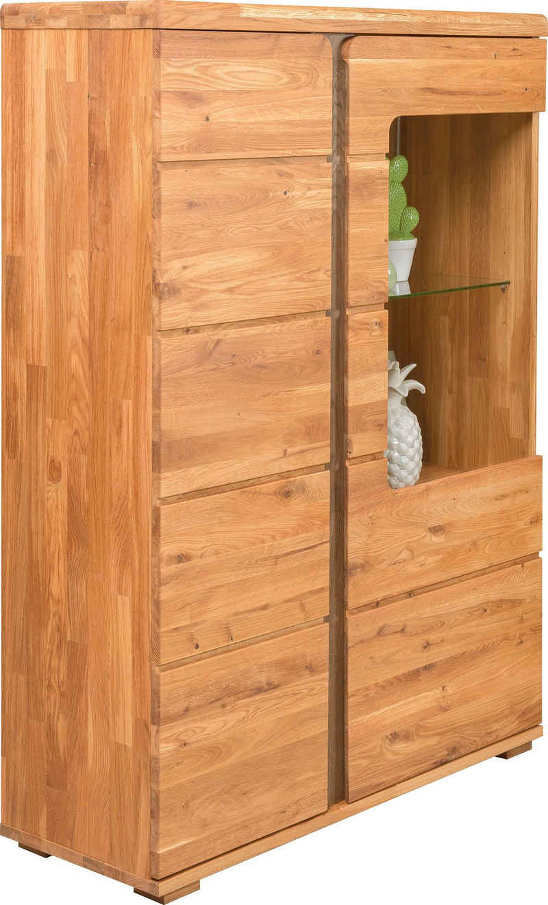 andas Vitrine »Logan« aus schönem massiven Eichenholz und einer praktischen Soft-Close-Funktion, Breite 90 cm