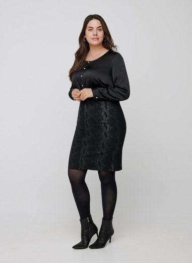 Zizzi Shirtbluse Große Größen Damen Langarm Bluse mit Knöpfen und Rundhals
