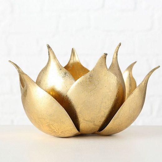 BOLTZE Kerzenhalter, Top aktueller Kerzenständer Modell BLOSSOM, Durchmesser 20 cm, Höhe 11 cm, Eisen, gold farbig lackiert, fester Stand, hoher Neidfaktor, Windlicht für innen und aussen, Glaseinsatz