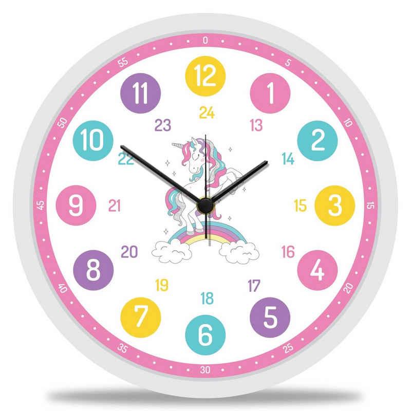 GRAVURZEILE Wanduhr »GRAVURZEILE Wanduhr Kinder Einhorn Motiv - Geräuscharme Kinderwanduhr geeignet für Mädchen - Bunte Lernuhr für Kinder 30 cm - Einfaches Ablesen der Uhrzeit Lernen - Farbenfrohes Design«