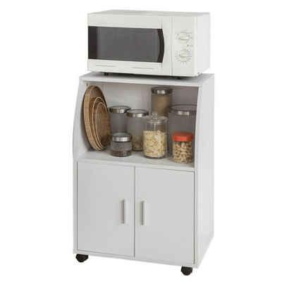SoBuy Küchenwagen »FSB09/FRG241«, Küchenschrank Rollschrank Getränkewagen Mikrowellenschrank mit 2 Ablagen und 2 Türen