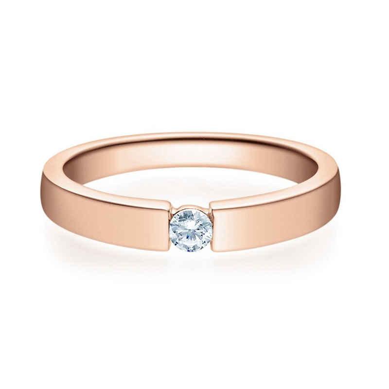 Stella-Jewellery Verlobungsring »375er Rotgold Verlobungsring mit Brillant - Gr.54« (inkl. Etui), mit Brillant 0,10ct. - Poliert