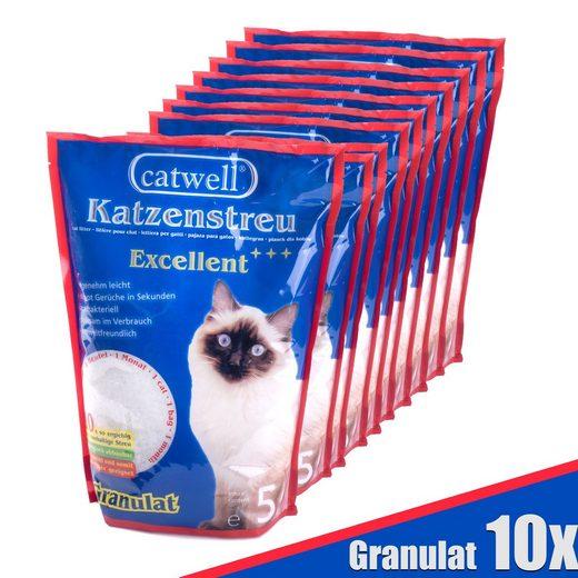 Catwell Katzentoilette »Katzenstreu Granulat«, aus Silikat, 10 x 5L, Grundpreis 1€ pro Liter