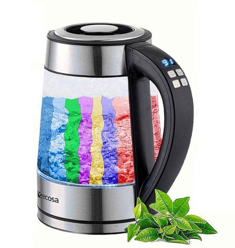 ecosa Wasserkocher EO-600, 1,7 l, 2200 W, Glaswasserkocher, mit Temperatureinstellung, LED-Beleuchtung, Edelstahl, BPA-frei, Farbwechsel