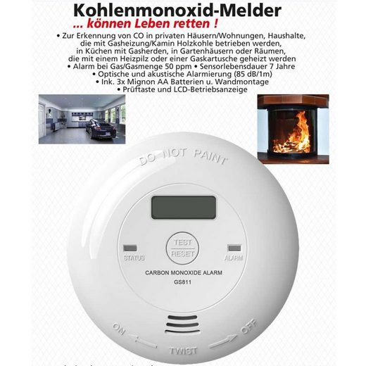 HEITECH »Kohlenmonoxidmelder mit Batterien, für Privathaush« Rauchmelder