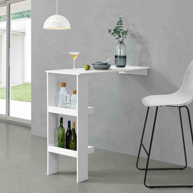 en.casa Bartisch, »Sölvesborg« Bartresen Stehtisch Theke für Wandmontage 120x45x106 cm Weiß