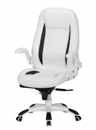 Amstyle Chefsessel »SPM1.240« Bürostuhl Belgrad Bezug Kunstleder Schreibtischstuhl Weiß Race 110kg Chefsessel höhenverstellbar Drehstuhl XX