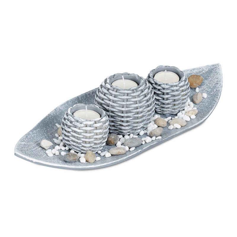 relaxdays Teelichthalter »Kerzen Deko mit Schale«