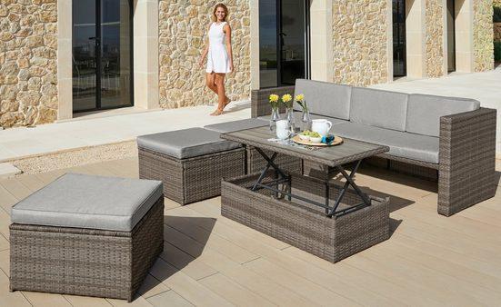 KONIFERA Loungeset »Lagos Premium«, (13-tlg), 3er-Sofa, 3 Hocker, Tisch, Polyrattan