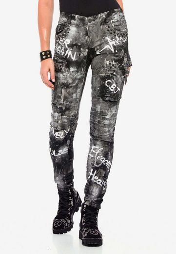 Cipo & Baxx Bequeme Jeans »WD397« mit cooler Waschung und Prints in Straight Fit