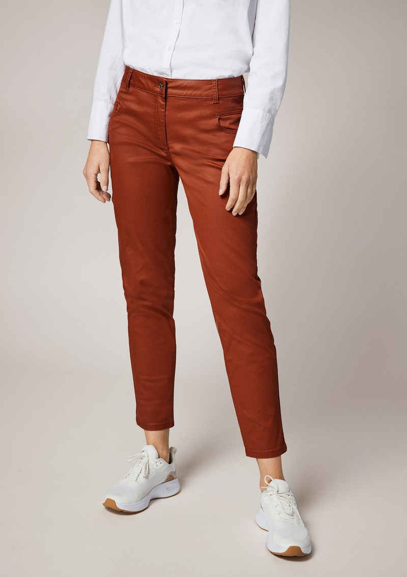Comma 7/8-Jeans »Skinny: Hose im Chintz-Look« Leder-Patch