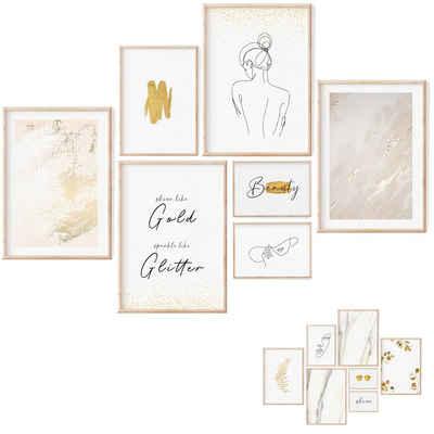 myDreamwork Poster »Premium Poster Set - 7 Beidseitige Bilder - Stilvolle Home Deko für Schlafzimmer und Wohnzimmer, Poster Gold - Ohne Rahmen«, Kunstdrucke